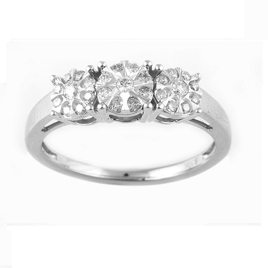 Womens 1/4 CT. T.W. Genuine White Diamond 10K White Gold 3-Stone Engagement Ring