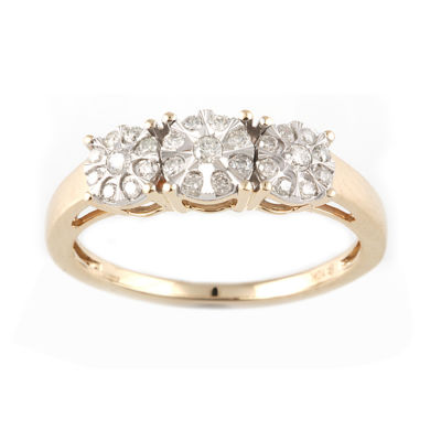 Womens 1/4 CT. T.W. Genuine White Diamond 10K Two Tone Gold 3-Stone Engagement Ring