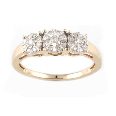 Womens 1/4 CT. T.W. Genuine White Diamond 10K Two Tone Gold 3-Stone Ring