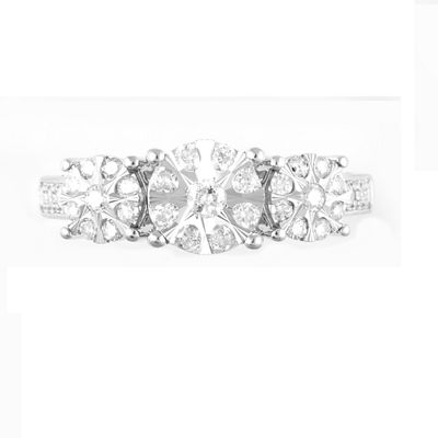 Womens 1/2 CT. T.W. Genuine White Diamond 10K White Gold 3-Stone Ring