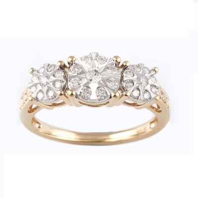 Womens 1/2 CT. T.W. Genuine White Diamond 10K Gold 3-Stone Ring