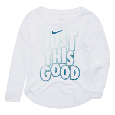 Nike Long Sleeve Crew Neck T-Shirt-Toddler Girls