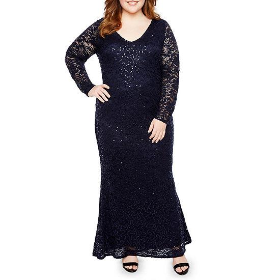 Blu Sage Long Sleeve V Front Lace Dress - Plus