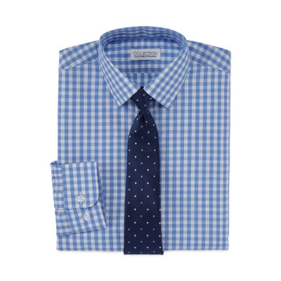 Collection By Michael Strahan Long Sleeve Shirt + Tie Set - Boys 8-20 Regular and Husky