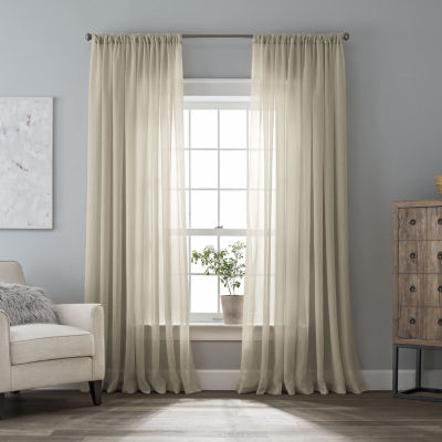 Home Expressions Crushed Voile Rod-Pocket Single Sheer Curtain Panel