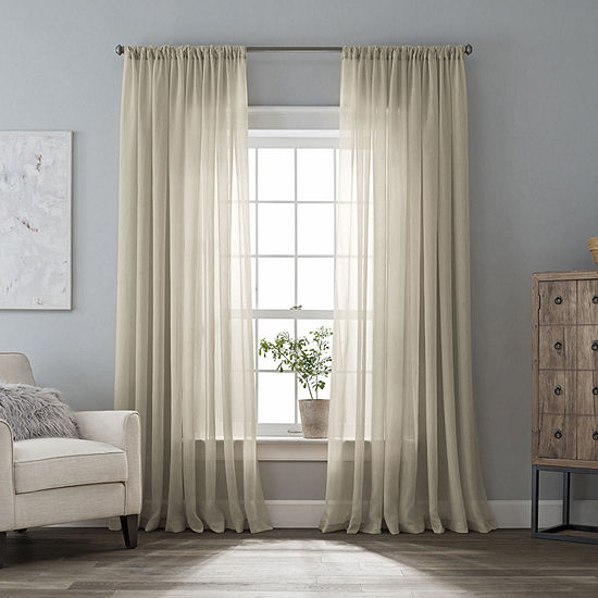Home Expressions Crushed Voile Rod-Pocket Sheer Curtain Panel