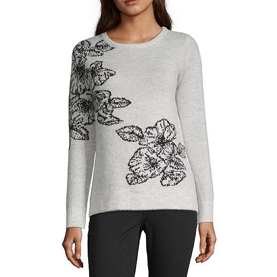 Liz Claiborne Womens Crew Neck Long Sleeve Plaid Pullover Sweater