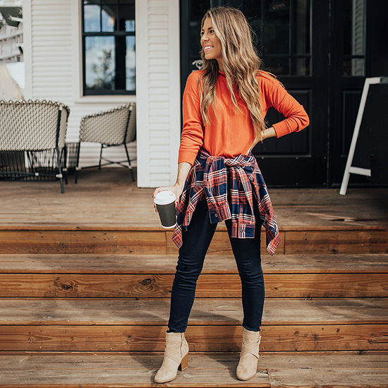 Natalie's Faves: Plaid Top & High-Rise Skinny Jeans