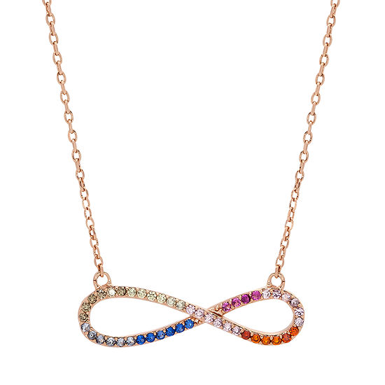Sparkle Allure Multi Color Stone 16 Inch Cable Infinity Pendant Necklace