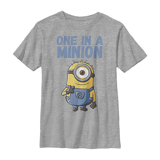 Despicable Me Minions Stuart One In A Minion - Little Kid / Big Kid Boys Slim Crew Neck Minons Short Sleeve Graphic T-Shirt