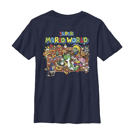 Nintendo Super Mario World Retro Map Boys Crew Neck Short Sleeve Graphic T-Shirt - Preschool / Big Kid Slim