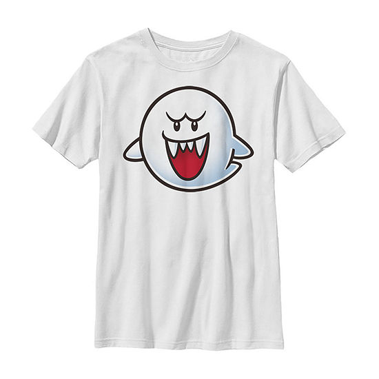 Nintendo Super Mario Boo Face Boys Crew Neck Short Sleeve Graphic T-Shirt - Preschool / Big Kid Slim