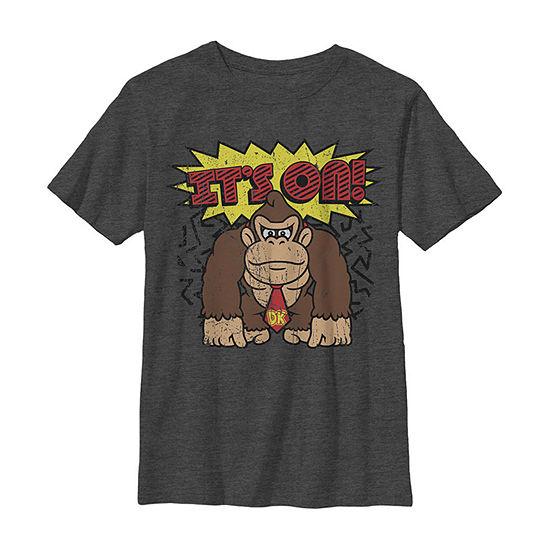 Nintendo Donkey Kong It'S On! Vintage Distressed Boys Crew Neck Short Sleeve Graphic T-Shirt - Preschool / Big Kid Slim