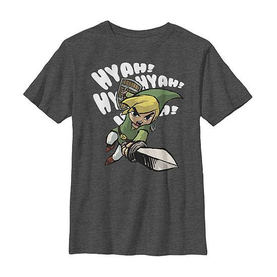 Nintendo Legend Of Zelda Hyah! Link Sword Swing Boys Crew Neck Short Sleeve Graphic T-Shirt - Preschool / Big Kid Slim