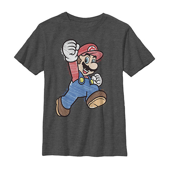 Nintendo Super Mario Marker Colors Classic Boys Crew Neck Short Sleeve Graphic T-Shirt - Preschool / Big Kid Slim