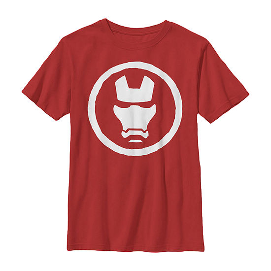 Marvel Iron Man Mask Icon Little & Big Boys Slim Crew Neck Marvel Short Sleeve Graphic T-Shirt