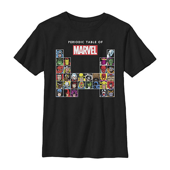 Marvel Periodic Table Of Heroes & Villains Retro Boys Crew Neck Short Sleeve Marvel Graphic T-Shirt - Preschool / Big Kid Slim