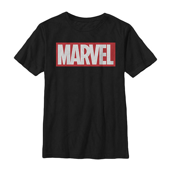 Marvel Classic Bold Logo Little & Big Boys Slim Crew Neck Marvel Short Sleeve Graphic T-Shirt