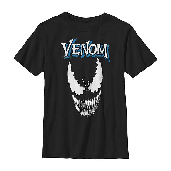 Marvel Venom Face Close Up Boys Crew Neck Short Sleeve Graphic T-Shirt - Preschool / Big Kid Slim