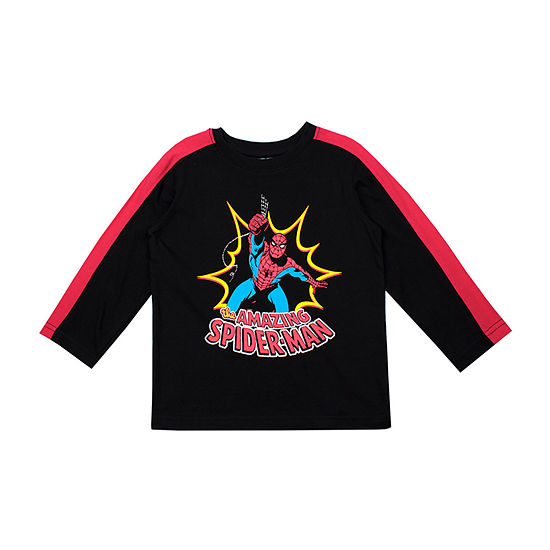 Marvel Toddler Boys Round Neck Spiderman Long Sleeve Graphic T-Shirt