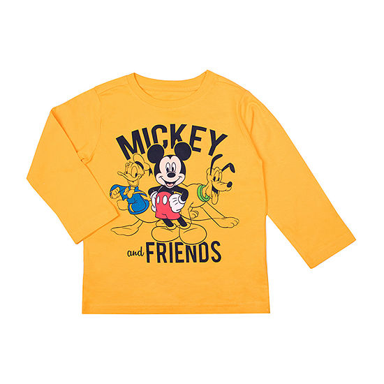 Disney Boys Round Neck Long Sleeve Mickey and Friends Graphic T-Shirt-Toddler
