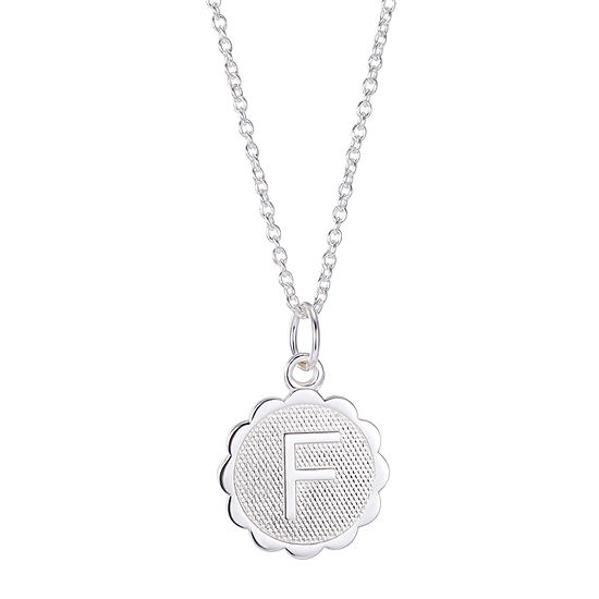 Silver Treasures Sterling Silver 16 Inch Link Round Pendant Initial Necklace