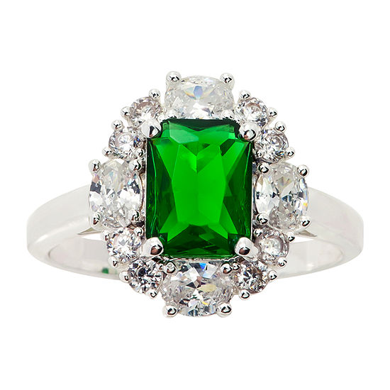Sparkle Allure Green Cubic Zirconia Pure Silver Over Brass