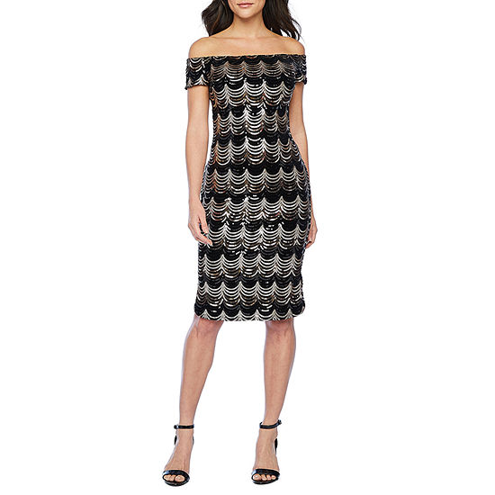 Premier Amour Off The Shoulder Sequin Sheath Dress