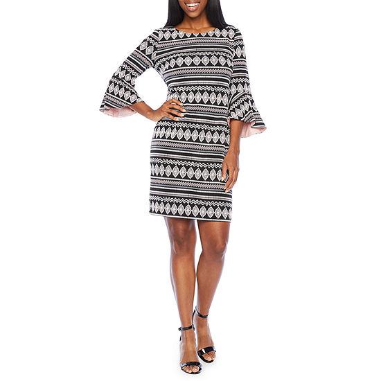R & K Originals 3/4 Sleeve Shift Dress