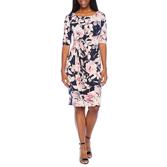 Connected Apparel 3/4 Sleeve Floral Sheath Dress