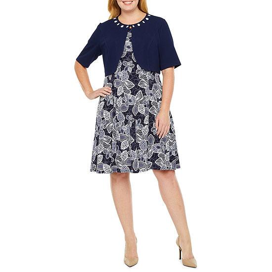 Perceptions-Plus 3/4 Sleeve Midi Jacket Dress