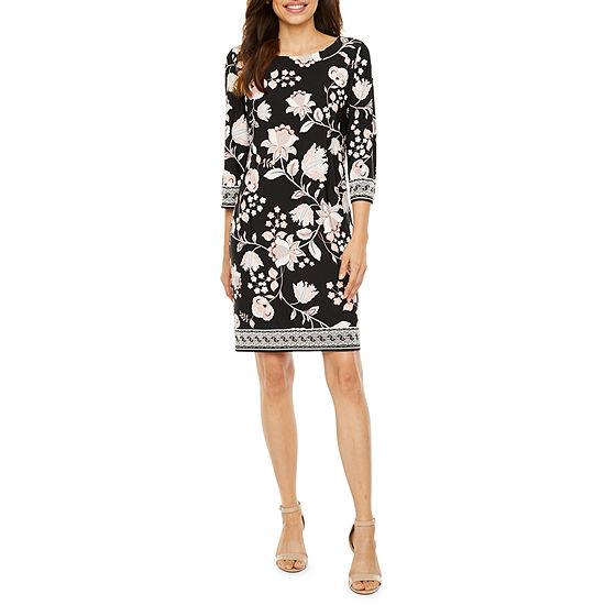 Studio 1-Petite 3/4 Sleeve Floral Puff Print Shift Dress