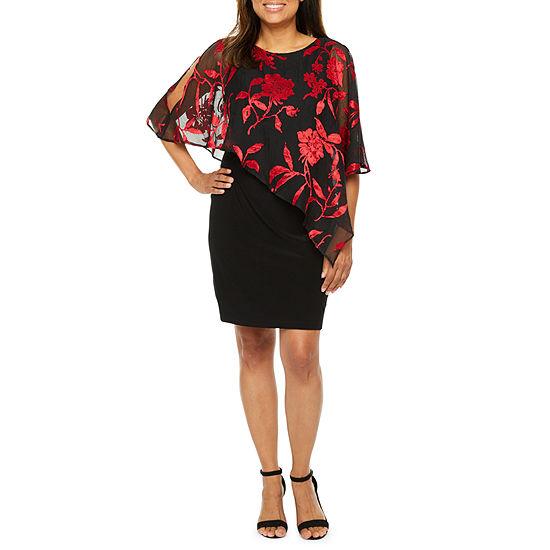 Scarlett-Petite Floral Cape Split Sleeve Sheath Dress
