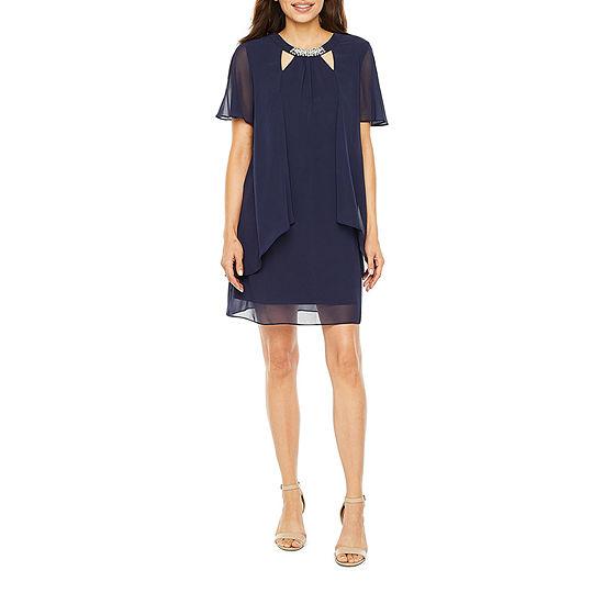 S. L. Fashions-Petite Short Sleeve Beaded Shift Dress