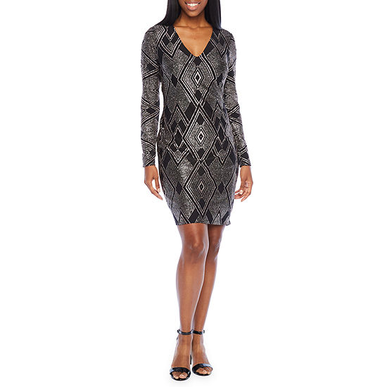 Blu Sage Long Sleeve Glitter Knit Sheath Dress