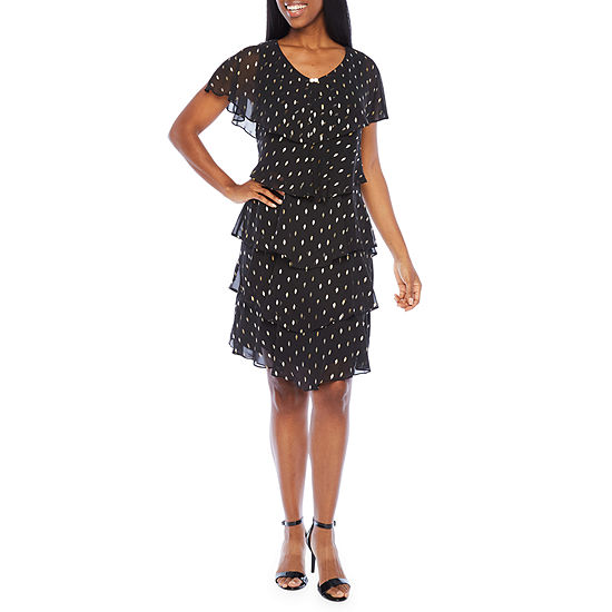 S. L. Fashions Short Sleeve Embellished Tiered Shift Dress