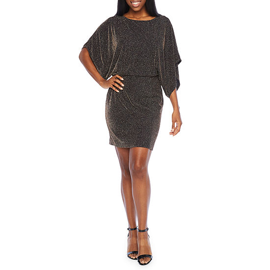 Blu Sage 3/4 Sleeve Glitter Knit Sheath Dress