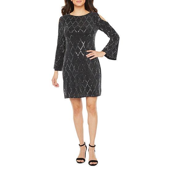 Jessica Howard 3/4 Sleeve Cold Shoulder Shift Dress