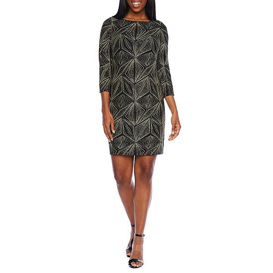 Jessica Howard 3/4 Sleeve Glitter Shift Dress