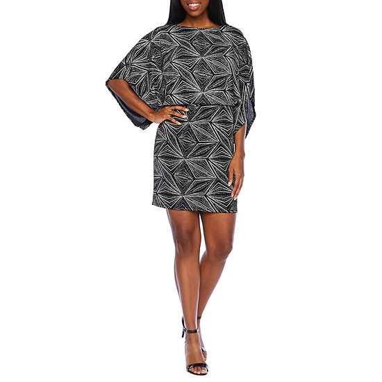 Jessica Howard 3/4 Sleeve Glitter Sheath Dress