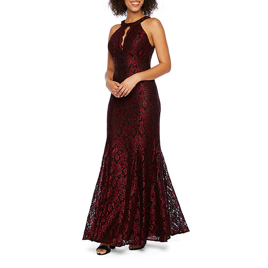 R & M Richards Sleeveless Lace Evening Gown