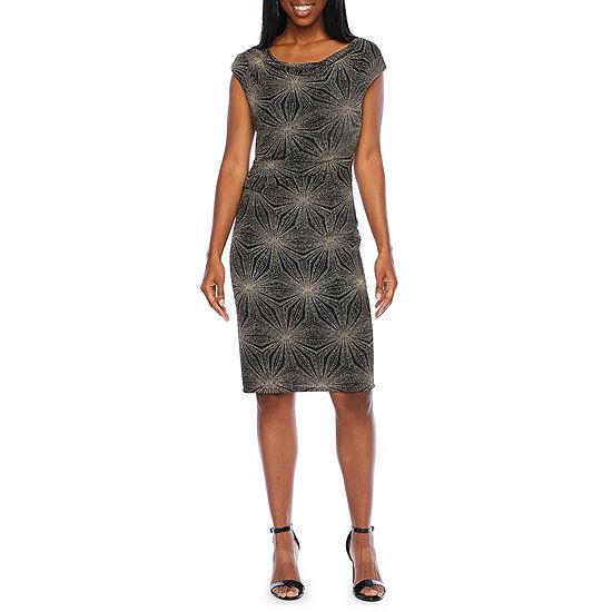 Jessica Howard Cap Sleeve Glitter Knit Sheath Dress
