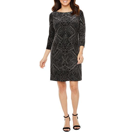 Jessica Howard 3/4 Sleeve Glitter Velvet Shift Dress