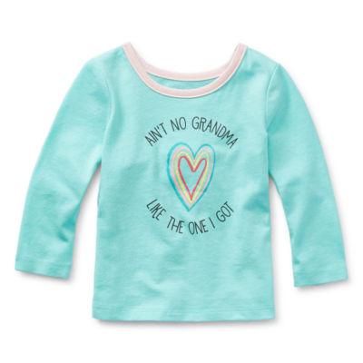 Okie Dokie Baby Girls Round Neck Long Sleeve T-Shirt