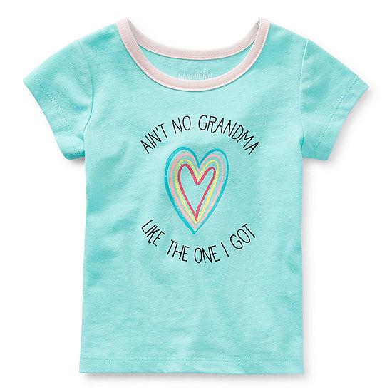 Okie Dokie Girls Round Neck Short Sleeve T-Shirt-Baby