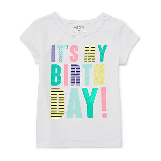 Okie Dokie Birthday Girls Round Neck Short Sleeve T-Shirt-Toddler
