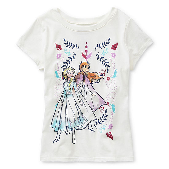 Disney Collection Little & Big Girls Crew Neck Frozen Short Sleeve Graphic T-Shirt