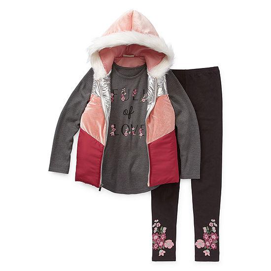 Satin Flowers Girls 3-pc. Legging Set Preschool / Big Kid