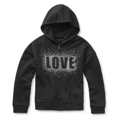 Xersion Cotton Fleece Girls Drop Shoulder Sleeve Hoodie - Preschool / Big Kid