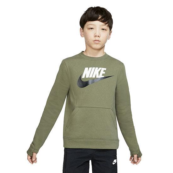 Nike Cotton Fleece - Big Kid Boys Crew Neck Long Sleeve Sweatshirt